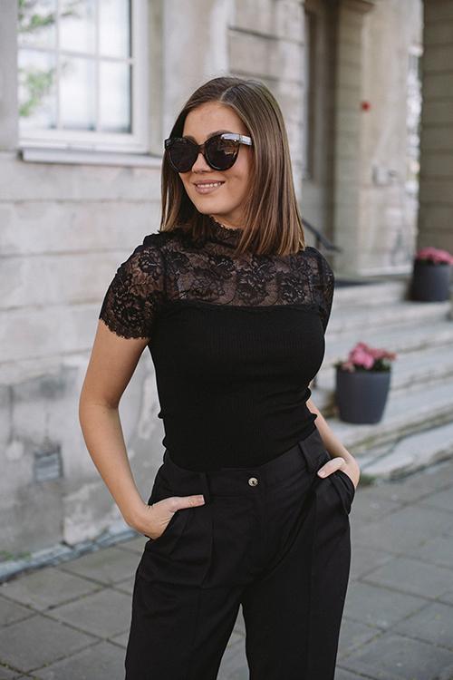 Rosemunde Belmar Silk T-Shirt SS Black topp
