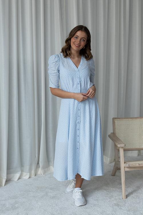 Rosemunde Franca Dress SS Heather Sky Dot Print kjole