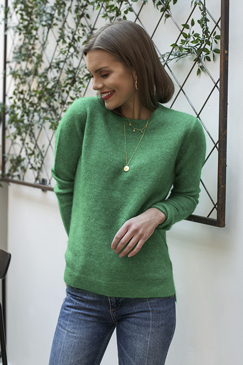 Second Female Brook Knit New O-Neck Medium Green genser