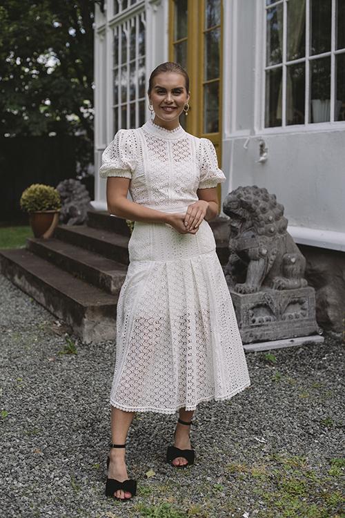 Self-Portrait White Cotton Broderie Midi Dress White kjole