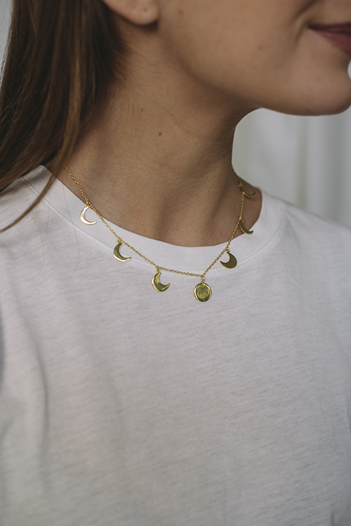 Moon Phase Necklace Gold
