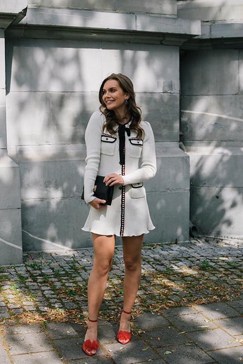 Self-Portrait Cream Lurex Knit Dress Cream kjole