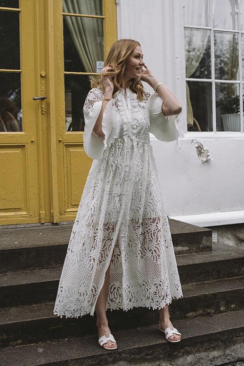 Self-Portrait Lily Guipure Kaftan White kjole
