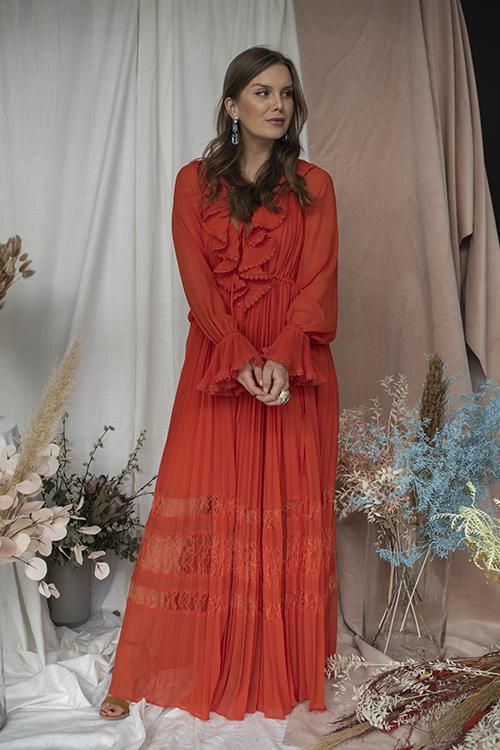 Self-Portrait Orange Chiffon Maxi Dress kjole