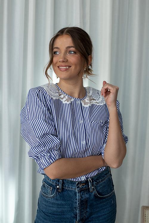 Self-Portrait Embroidered Stripe Cotton Top Multi Colour bluse