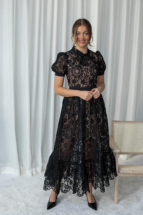 Self-Portrait Guipure Lace Midi Dress Black Blondekjole Festkjole