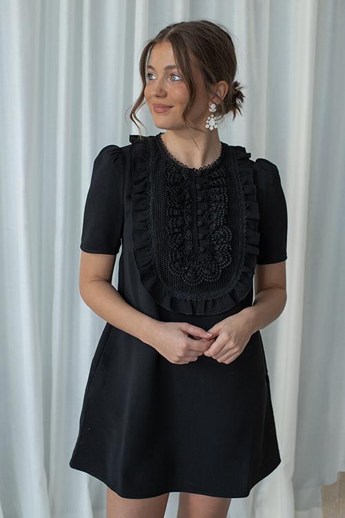 Self-Portrait Lace-Bib Crepe Mini Dress Black Kjole