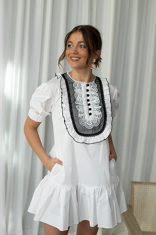 Self-Portrait Lace-Bib Cotton Mini Dress White kjole
