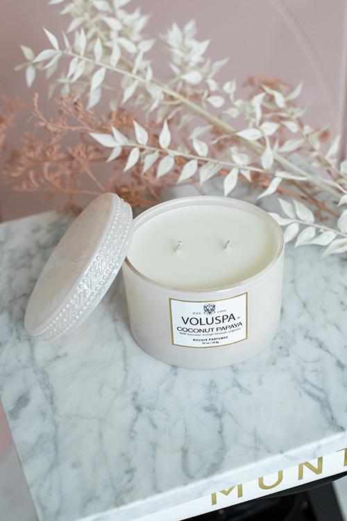 Voluspa Boxed Corta Maison Glass Candle 45t Papaya Coconut duftlys